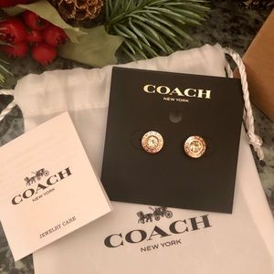 Coach Jewelry - COACH Earrings Rose Gold & Champagne Crystal!